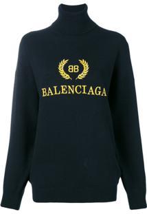 Balenciaga Suéter Com Logo Bordado - Preto