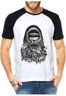Camiseta Raglan Criativa Urbana Macaco Gorila - Masculino-Branco