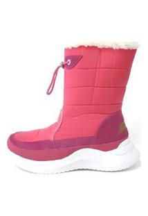 Bota Forrada Andarilha Cano Médio Neve E Frio Pink/Branco