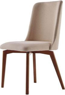 Cadeira De Jantar Fixa Arrezo Bege Escuro 4613 Base Madeira Cor Imbuia