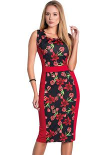 Vestido Tubinho Floral Dark Moda Evangélica