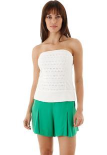 Blusa Aha Recortes Acinturada Com Bordado Off- White