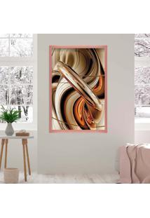 Quadro Love Decor Com Moldura Abstrato Rose Metalizado Médio