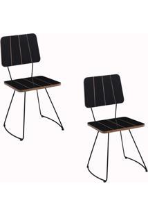 Kit 2 Cadeira Costela Meia Lua Preto
