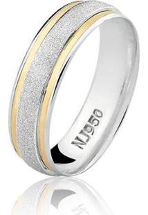 Aliança Masculina Prata 925 Com Filete De Ouro Al39 - Masculino-Prata