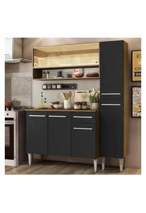 Cozinha Compacta Madesa Emilly Art Com Balcão E Armário Vidro Reflex - Rustic/Preto Cor:Rustic/Preto