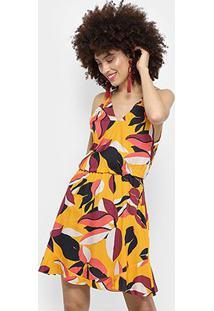 Vestido Morena Rosa Evasê Curto Básico - Feminino-Amarelo