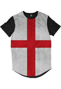 Camiseta Longline Bsc Bandeira Inglaterra Sublimada Preto