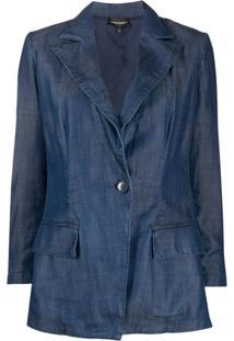 Emporio Armani Blazer Jeans Com Abotoamento Simples - Azul