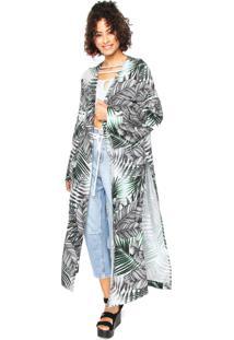 Kimono Oh Boy Estampado Branco/Cinza
