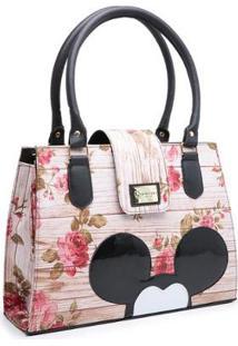 Bolsa Gouveia Costa Mickey Mouse Compacta Alça Dupla Mão Feminina - Feminino-Nude+Preto