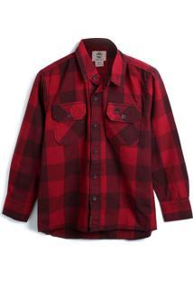 Camisa Timberland Masculino Xadrez Vermelha