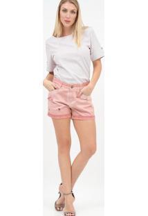 Blusa Listrada Com Recorte - Branca & Vermelhascalon