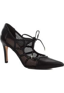 Scarpin Couro Shoestock Salto Alto Tela - Feminino-Preto