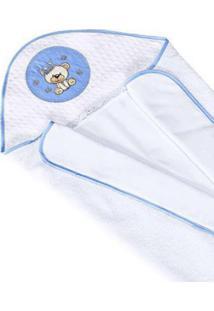 Toalha De Banho I9 Baby Forrada Com Fralda Urso Real Azul