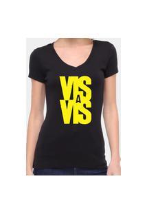Camiseta Suffix Preta Gola V Estampa Vis A Vis Amarelo