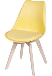 Cadeira Eames Leda 1108 Amarela Base Madeira - 32072 Sun House