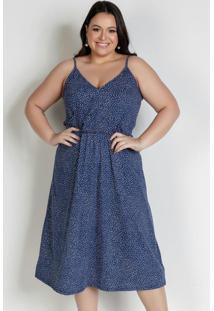 Vestido Midi Poá Azul Com Alças Plus Size