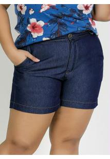 Short Jeans Com Bolsos Funcionais Plus Size