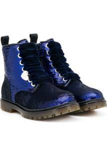 Monnalisa Ankle Boot Com Paetês - Azul