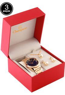 Kit 3 Pçs Relógio Champion Cn25397B Dourado