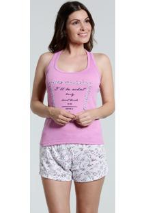 Pijama Feminino Short Doll Estampa Frontal Marisa
