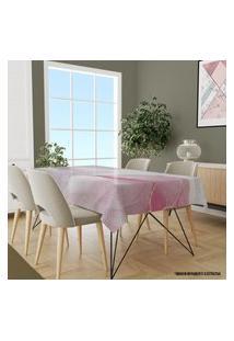 Toalha De Mesa Retangular Para 8 Lugares Marmorizado Rosa 1.45M X 2.70M Único
