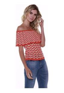 Blusa Ciganinha Studio 21 Fashion Tricot - Feminino-Coral
