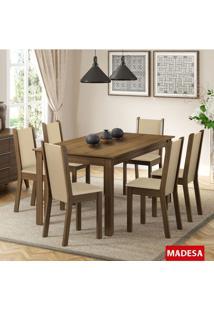 Sala De Jantar Madesa Tauany Mesa De Madeira E 6 Cadeiras - Rustic/ Crema/ Pérola