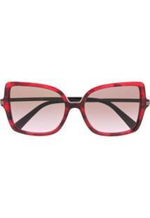 Valentino Eyewear Óculos De Sol Oversized - Vermelho