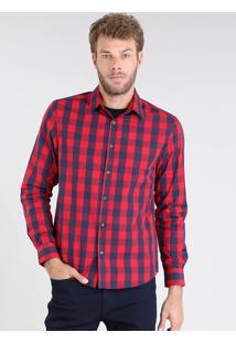 Camisa Masculina Comfort Xadrez Manga Longa Vermelha