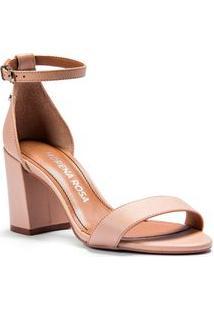 Sandalia Salto Bloco Lisa Nude