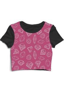 Blusa Feminina Cropped Tshirt Goup Girls Diamantes Diamond - Feminino