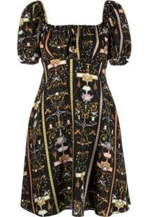 Versace Jeans Couture Vestido Com Padronagem Barroca - Preto