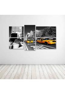 Quadro Decorativo - Ny Taxis Amarelo I - Composto De 5 Quadros - Multicolorido - Dafiti