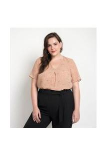 Blusa Em Crepe Poá Gola V Com Prega Frontal Curve & Plus Size Rosa