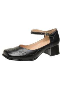 Sapato Bico Quadrado Gasparini Preto