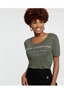Blusa Estampa Frontal Manga Curta Marisa Feminina - Feminino-Verde Militar