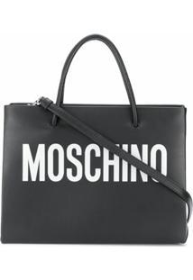 Moschino Bolsa Tote Com Estampa De Logo - Preto