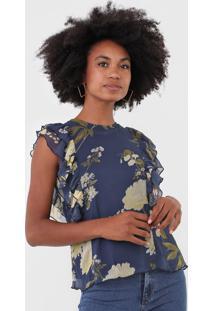 Blusa Vero Moda Floral Azul-Marinho