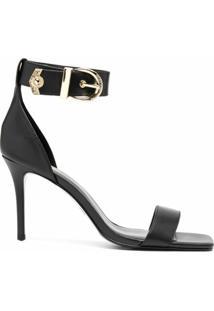 Versace Jeans Couture Sandália Com Fivela E Abertura Frontal - Preto