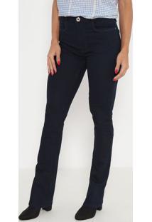 Jeans Boot Cut Com Bolsos- Azul Escuro- Ennaenna