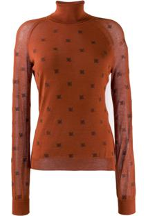 Fendi Roll Neck Ff Sweater - Laranja