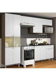 Cozinha Compacta Star 8 Pt 1 Gv Castanho E Branca