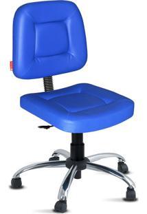 Cadeira Escritório Azul Giratória Cromado