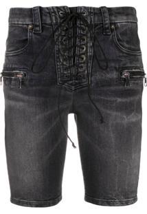 Unravel Project Bermuda Jeans Skinny - Preto