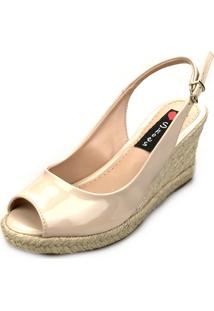 Sandália Anabela Love Shoes Espadrille Aberta Corda Verniz Bege
