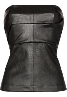 Rick Owens Leather Corset Bustier - Preto