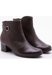 Ankle Boot Comfortflex Salto Grosso Marrom 35