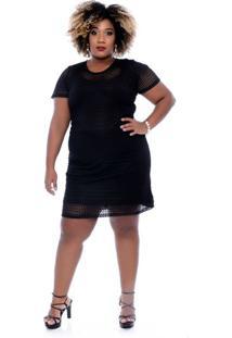 Vestido Preto Tule Plus Size